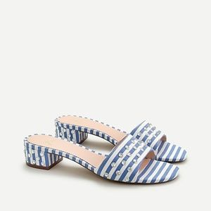 J Crew Florence block-heel mules with jewel detail